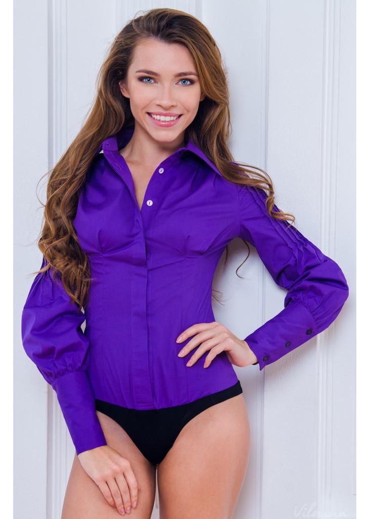 Блуза (боді) оригінальними пишними рукавами • колір: фіолетовий • інтернет магазин • vilenna • фото 1