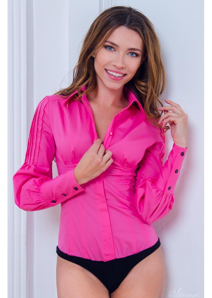 Блуза (боді) оригінальними пишними рукавами • колір: рожевий • інтернет магазин • vilenna • фото 1