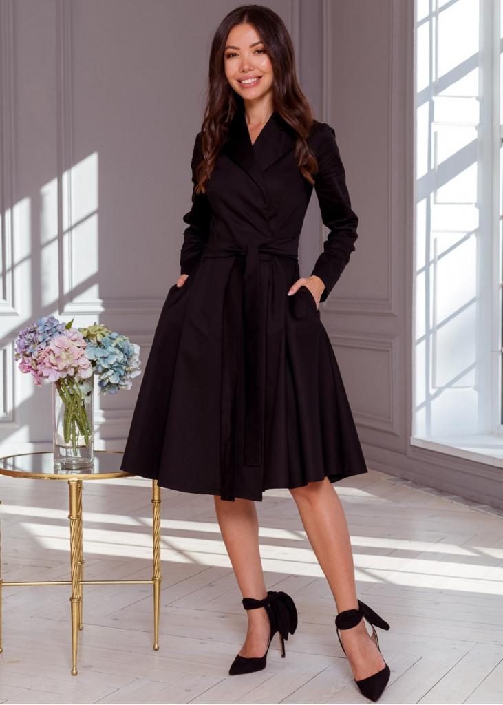 Стильное платье-пальто на-запах с поясом