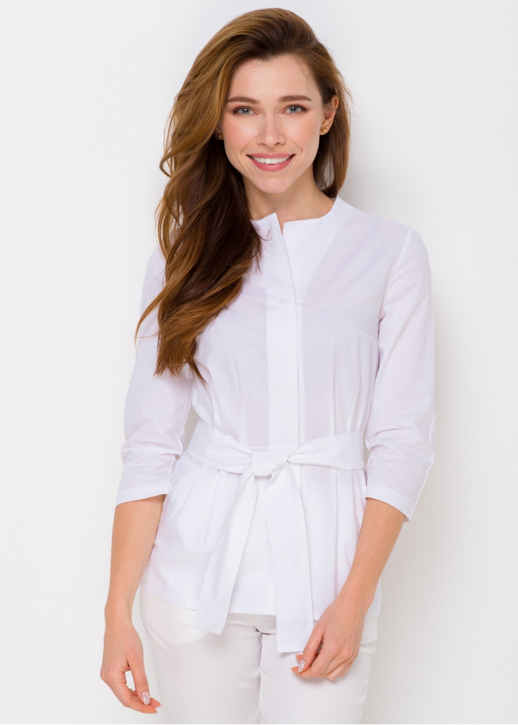 Стильная блуза-жакет с поясом
