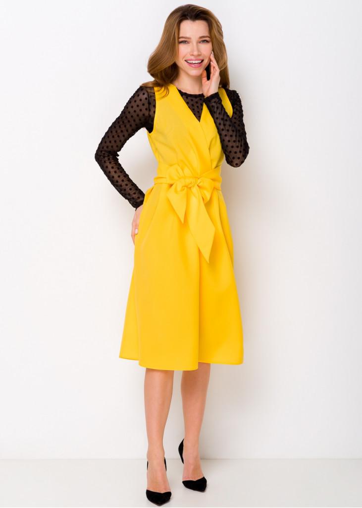 Нарядное платье с поясом-бантом