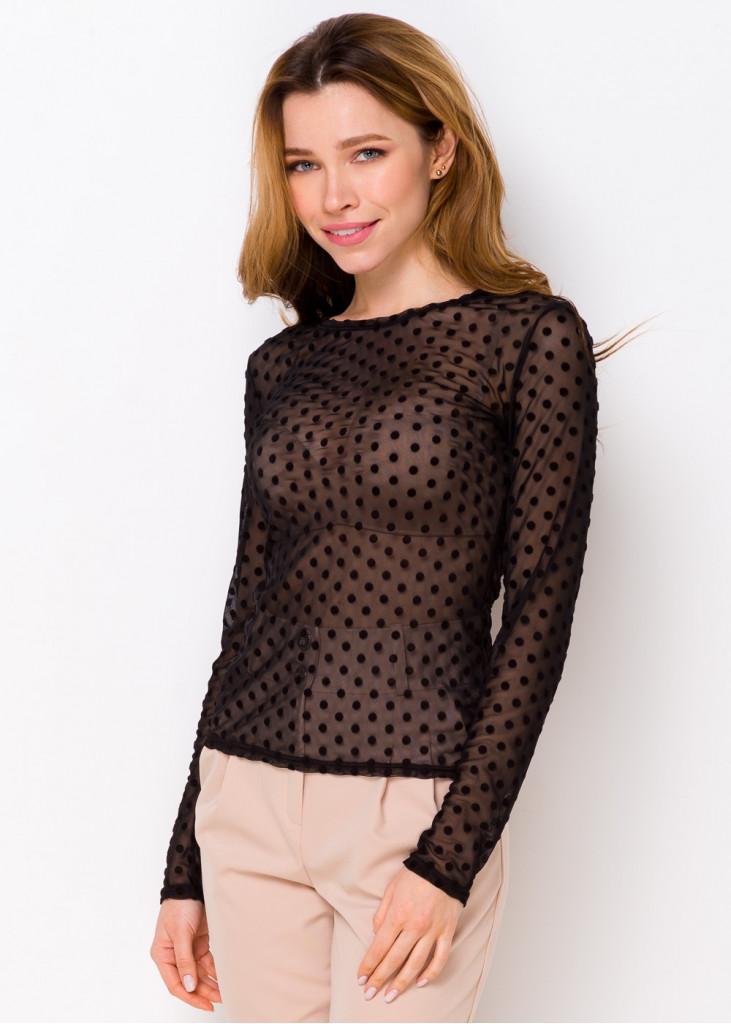 Чорна блуза в горошок